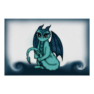 Dragon turquoise poster