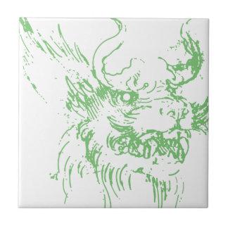 Dragón verde azulejo cuadrado pequeño