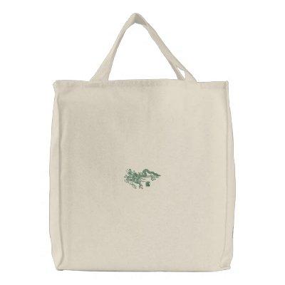 Dragón verde bolsa de lienzo