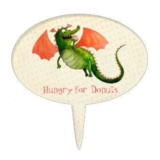 Dragón verde con el buñuelo decoración de tarta