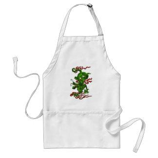Dragón verde con las cintas rojas ropa y regalos delantal