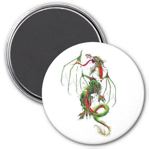 Dragón verde de la Edad Media fresca Imán Redondo 7 Cm