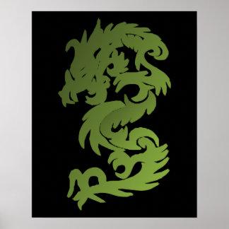 Dragón verde de la ji posters