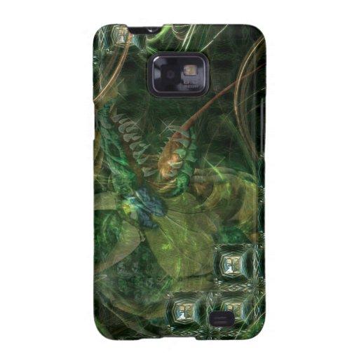 Dragón verde de la tecnología galaxy SII fundas