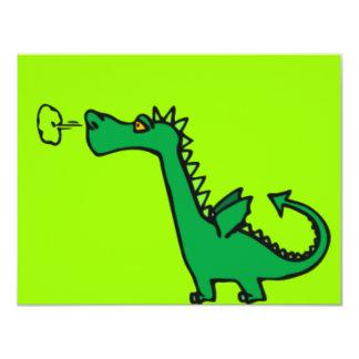 Dragón verde del dibujo animado invitación 10,8 x 13,9 cm