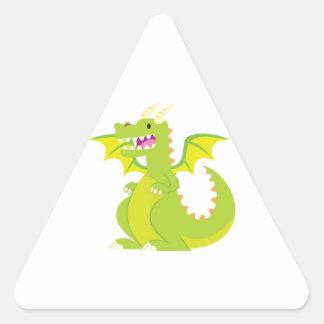 Dragón verde del dibujo animado pegatina triangular