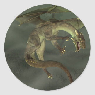 Dragón verde del pantano pegatina redonda