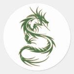 Dragón verde del tatuaje pegatina redonda