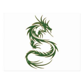Dragón verde del tatuaje postal