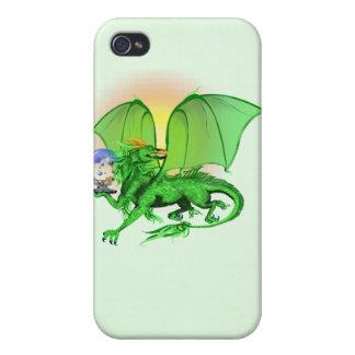 Dragón verde del universo iPhone 4/4S fundas