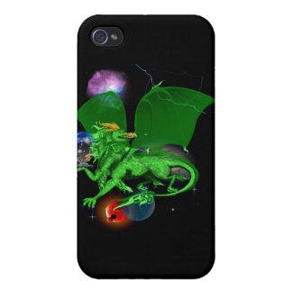 Dragón verde del universo iPhone 4 cárcasas