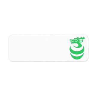Dragón verde en etiqueta del huevo etiquetas de remite