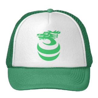 Dragón verde en gorra del huevo