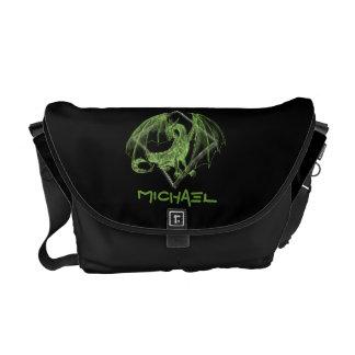 Dragón verde en la bolsa de mensajero del diamante bolsas de mensajeria