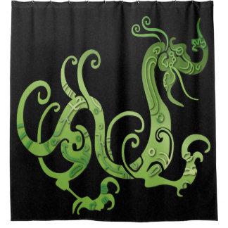 Dragón verde en negro abigarrado - cortina de cortina de baño