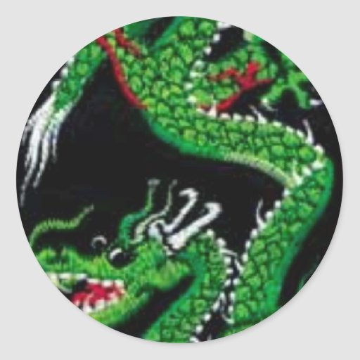 Dragón verde etiqueta redonda