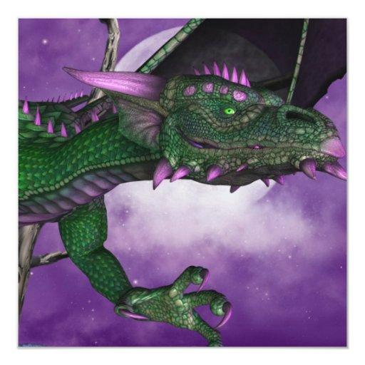 Dragón verde invitación 13,3 cm x 13,3cm