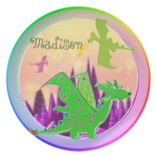 Dragón verde lindo con Madison conocida adaptable Plato De Comida