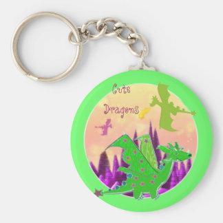 Dragón verde lindo llaveros personalizados