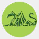 Dragón verde metálico etiquetas