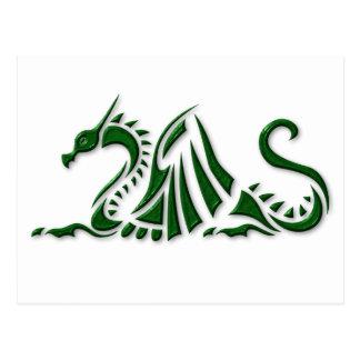 Dragón verde metálico postal