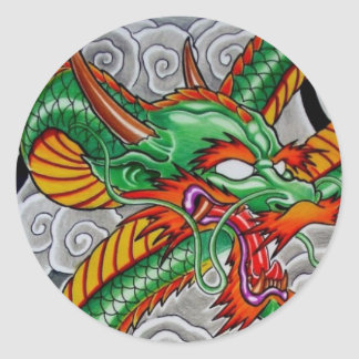 dragón verde pegatina redonda