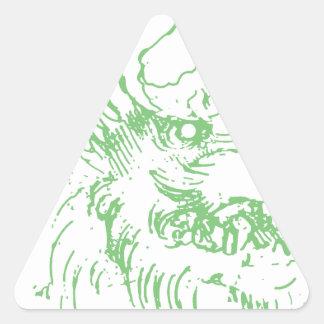 Dragón verde pegatina triangular