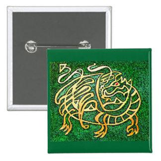 Dragón verde pin cuadrado