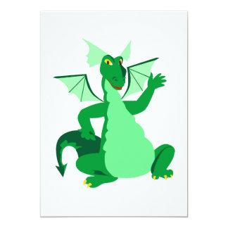 Dragón verde que agita invitación 12,7 x 17,8 cm