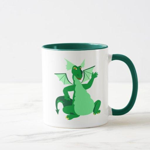 Dragón verde que agita taza