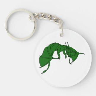 dragón verde que vuela outline.png llavero redondo acrílico a doble cara