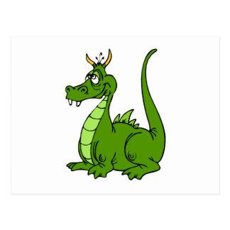 Dragón verde torpe tarjetas postales