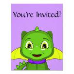 """Dragón verde y amarillo de Chibi Invitación 4.25"""" X 5.5"""""""