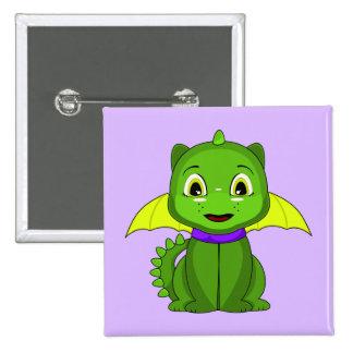 Dragón verde y amarillo de Chibi Pin Cuadrada 5 Cm