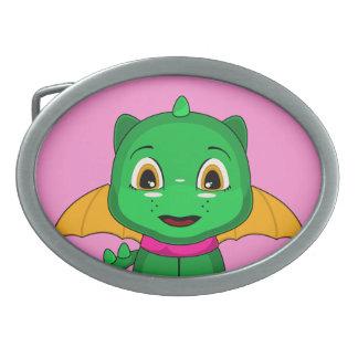 Dragón verde y anaranjado de Chibi Hebilla De Cinturón