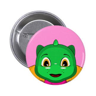 Dragón verde y anaranjado de Chibi Pin Redondo 5 Cm