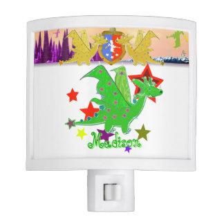 Dragón verde y estrellas lindos lámparas de noche