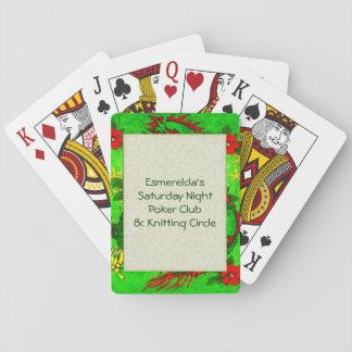 Dragón verde y flores rojas cartas de póquer