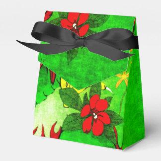 Dragón verde y flores rojas caja para regalos de fiestas