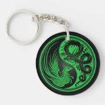 Dragón verde y negro Phoenix Yin Yang Llavero
