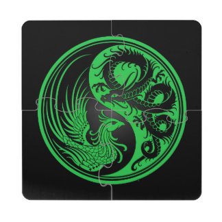 Dragón verde y negro Phoenix Yin Yang Posavasos De Puzzle