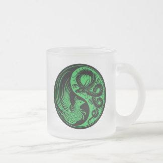Dragón verde y negro Phoenix Yin Yang Taza De Café