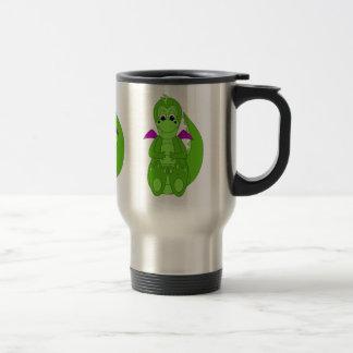 Dragón verde y púrpura lindo taza de café