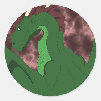 Dragón verde y rojo fresco etiquetas redondas