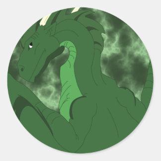 Dragón verde y verde fresco pegatina redonda