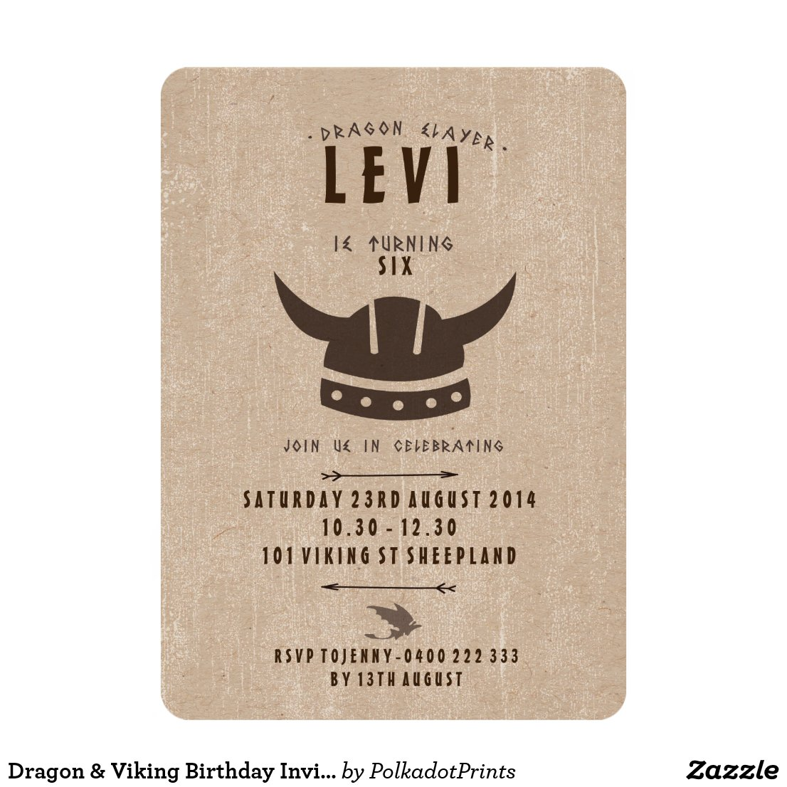 Dragon & Viking Birthday Invitation