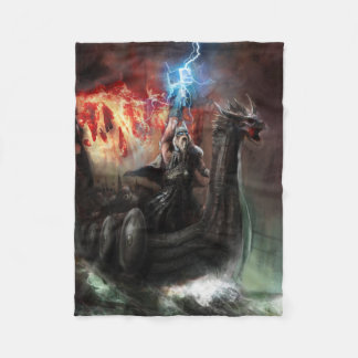 Dragon Viking Ship Small Fleece Blanket
