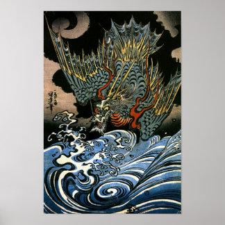 Dragon & Water Spirit Kuniyoshi Japanese Fine Art Poster