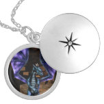 Dragon Wings Round Locket Necklace