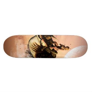 Dragon wirh elf flying over a sea skateboards